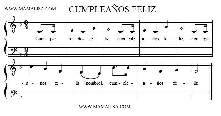 Partition musicale - Cumpleaños feliz
