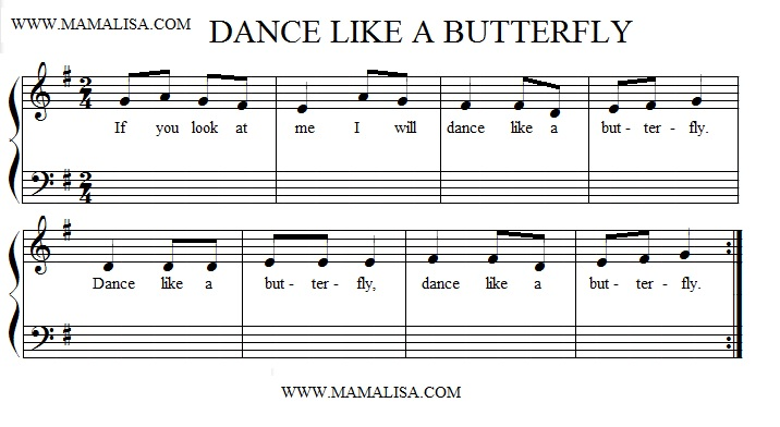 Partition musicale - Dance Like a Butterfly
