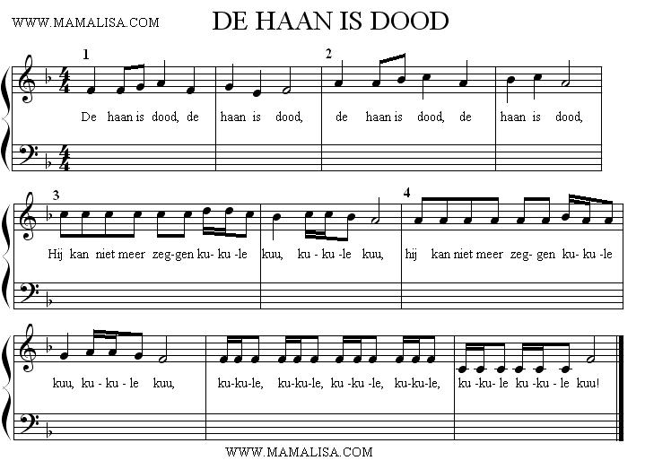 Partition musicale - De haan is dood