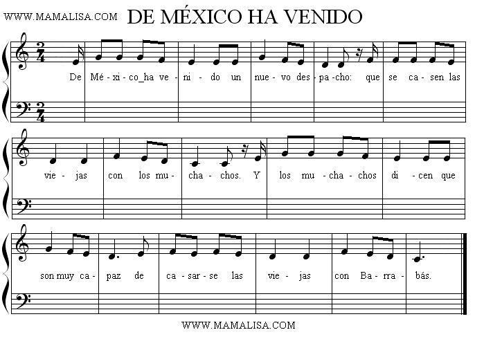 Sheet Music - De México ha venido