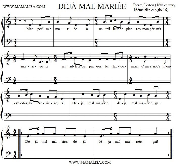 Partition musicale - Déjà mal mariée