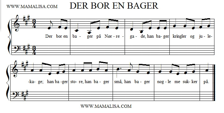 Partition musicale - Der bor en bager på Nørregade