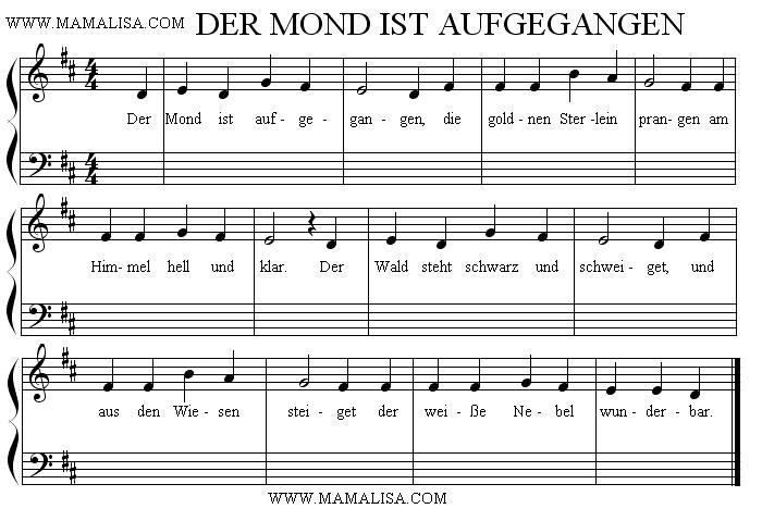 Sheet Music - Der Mond ist aufgegangen