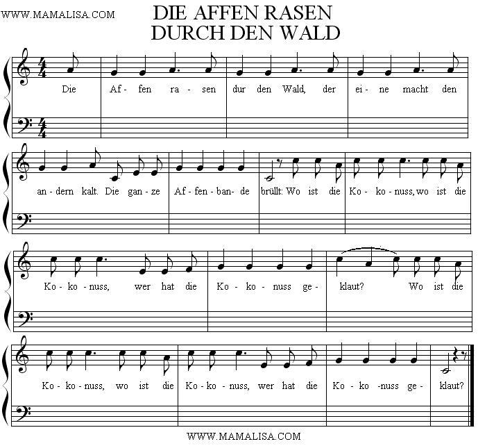Partition musicale - Die Affen rasen durch den Wald