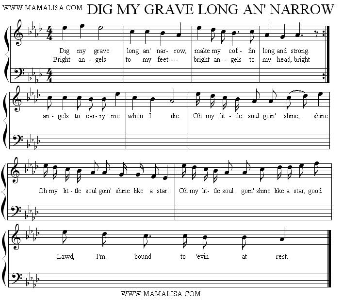 Sheet Music - Dig My Grave