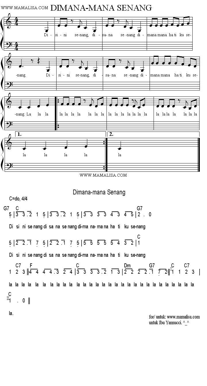 Sheet Music - Dimana man hatiku senang