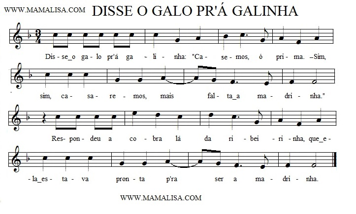 Sheet Music - Disse o galo pr'á galinha
