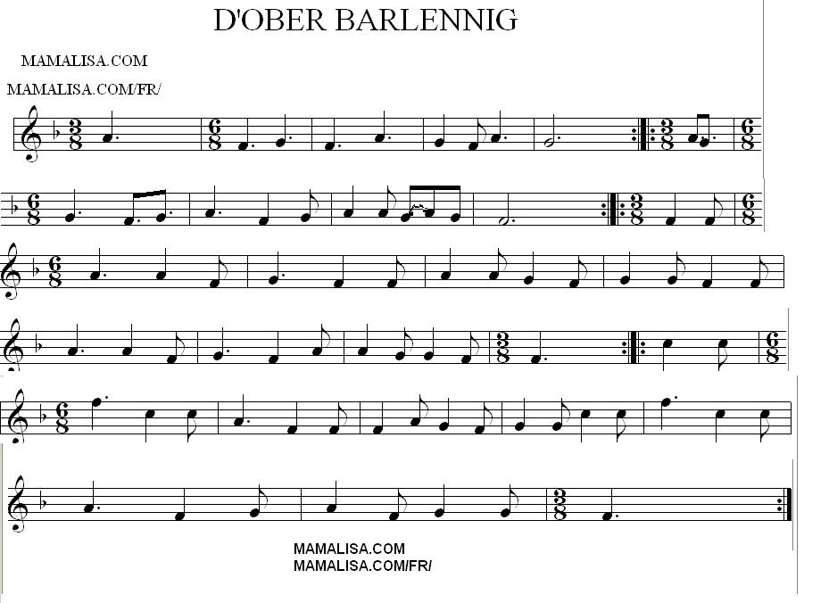 Sheet Music - D'ober barlennig