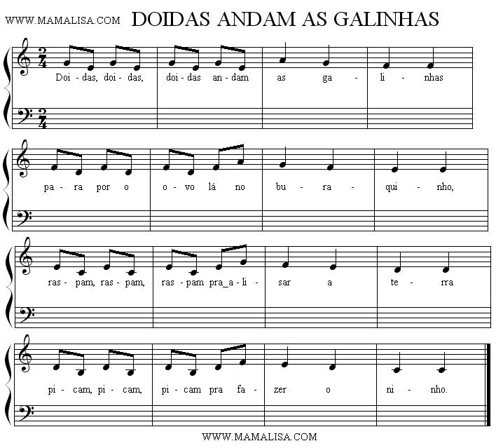 Sheet Music of Doidas andam as galinhas - Portuguese Children's Songs - Portugal - Mama Lisa's World: Children's Songs and Rhymes from Around the World