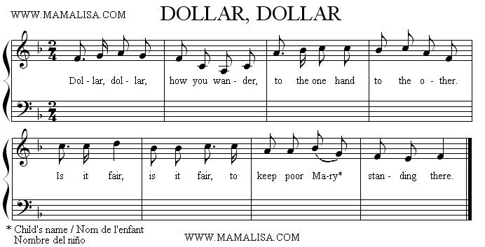 Sheet Music - Dollar, Dollar How You Wander