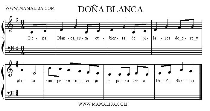 Sheet Music - Doña Blanca