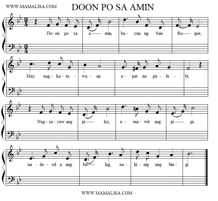 Sheet Music - Doon Po Sa Amin  - (Awit ng Pulubi)