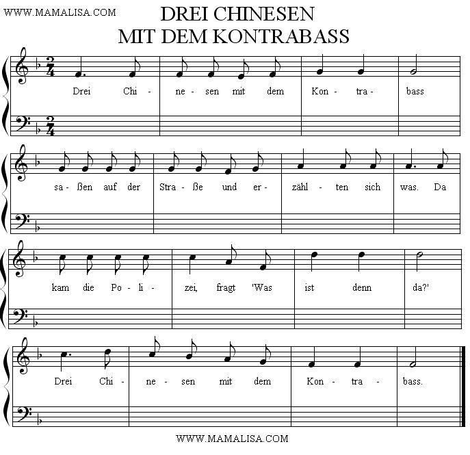 Sheet Music - Drei Chinesen mit dem Kontrabass
