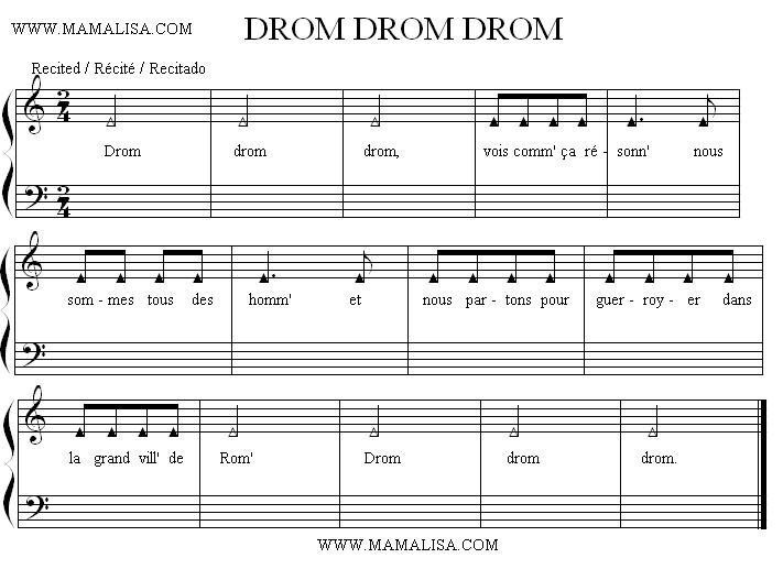 Sheet Music - Drom, drom, drom
