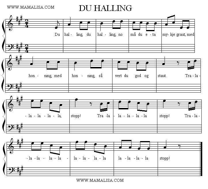 Partition musicale - Du halling