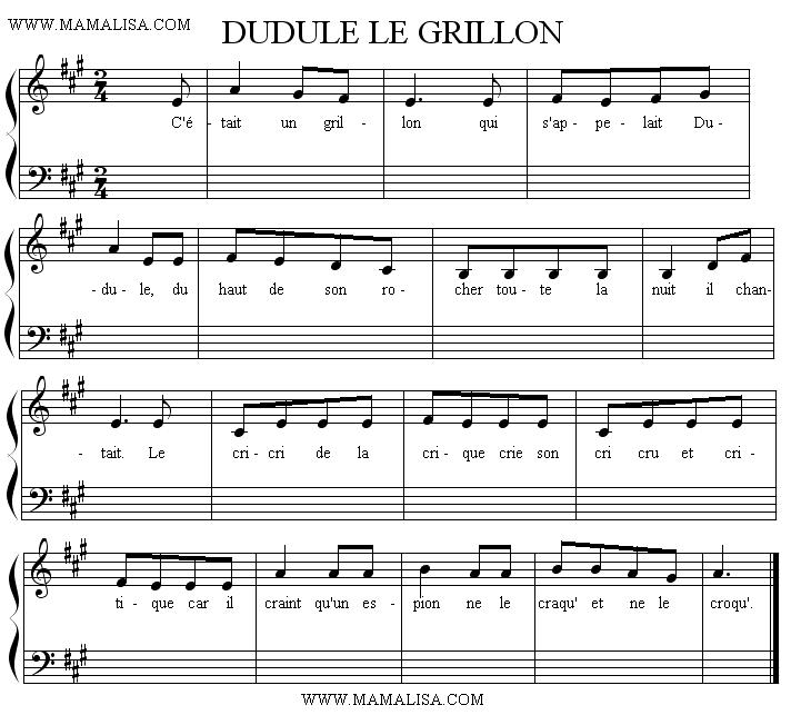 Partition musicale - Dudule le grillon