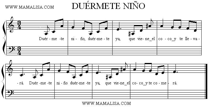 Partition musicale - Duérmete niño