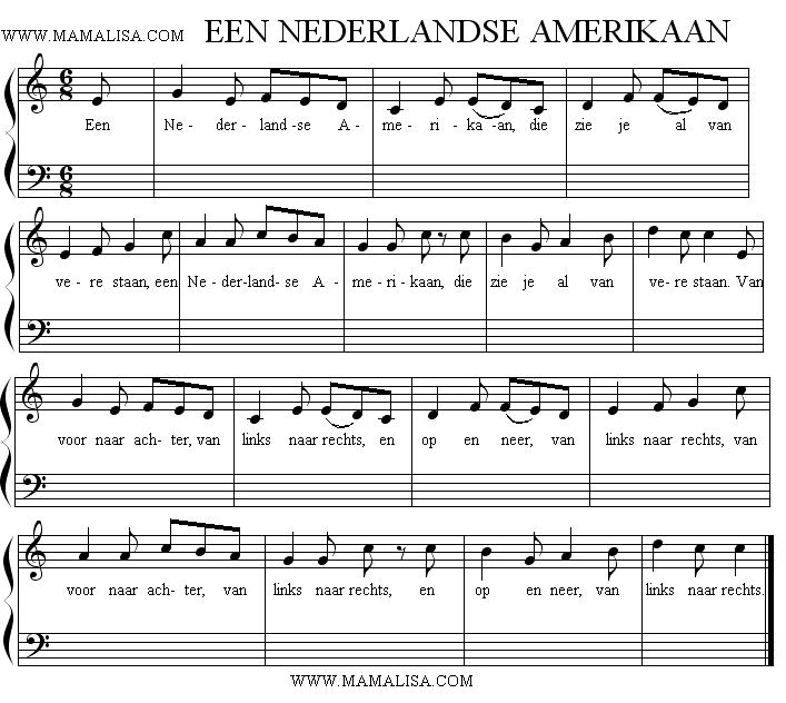Sheet Music - Een Nederlandse Amerikaan