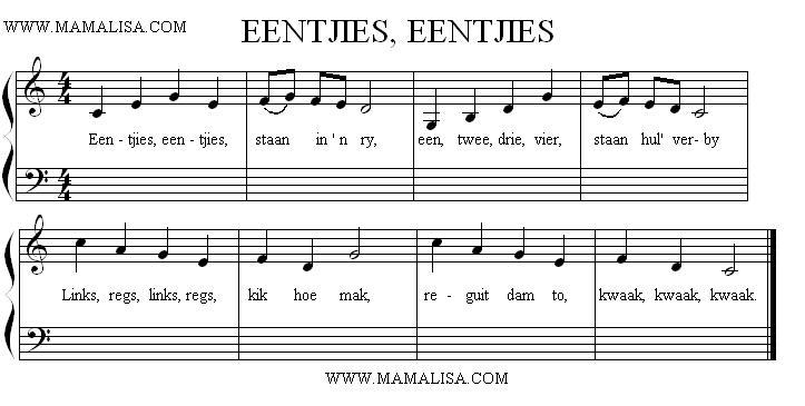 Partition musicale - Eendjies, eendjies