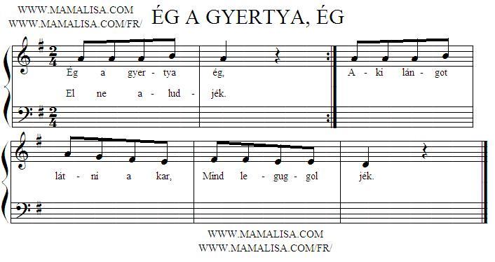 Sheet Music - Ég a gyertya, ég