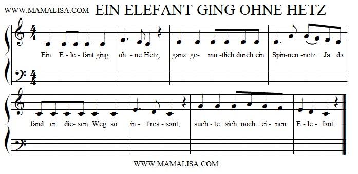 Sheet Music - Ein Elefant ging ohne Hetz