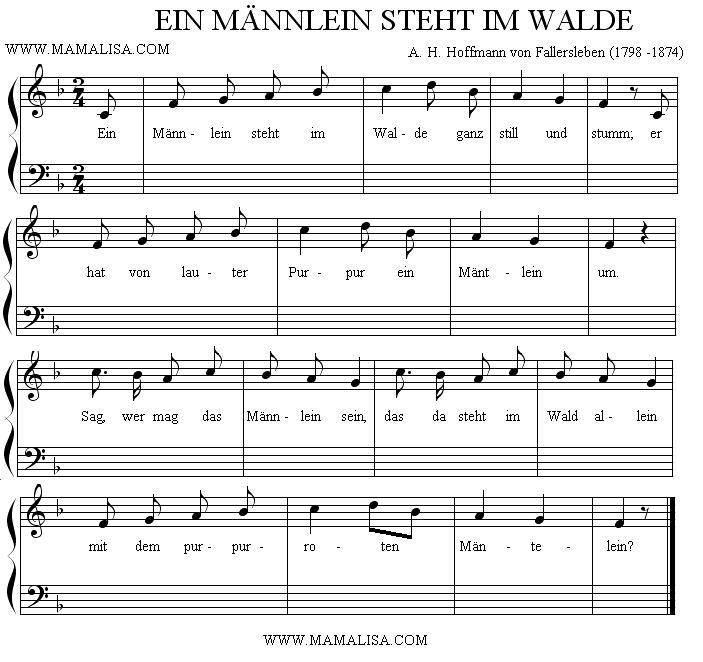 Partition musicale - Ein Männlein steht im Walde
