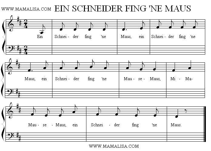 Partitura - Ein Schneider fing 'ne Maus