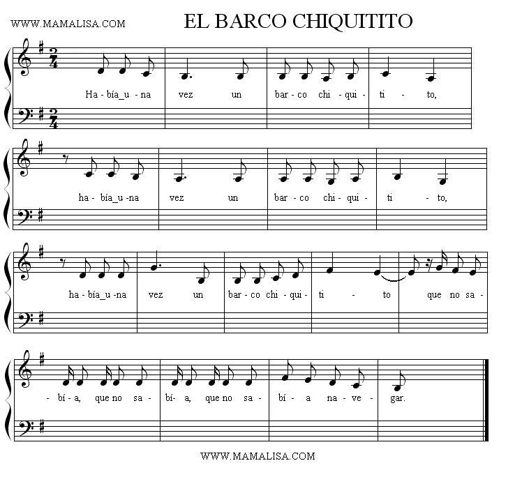 Partition musicale - El barco chiquitito