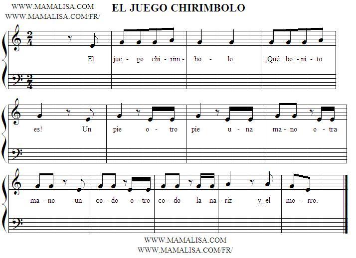 Partition musicale - El juego chirimbolo