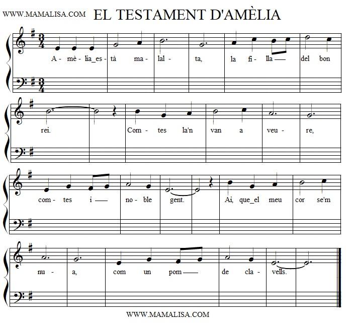 Sheet Music - El testament d'Amelia