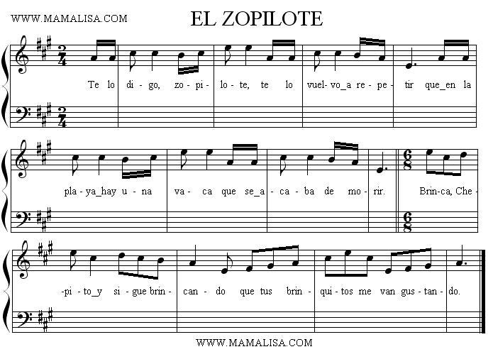 Sheet Music - El zopilote