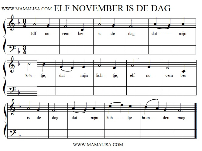 Sheet Music - Elf november is de dag
