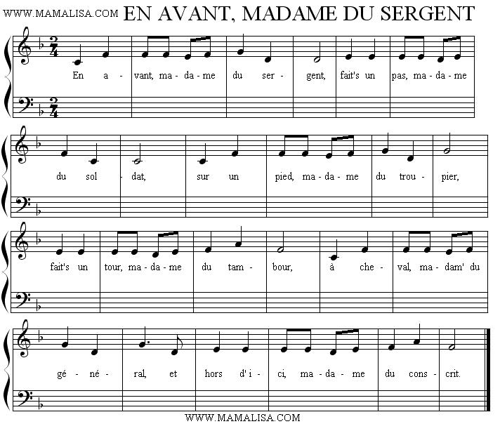 Sheet Music - En avant, madame du sergent