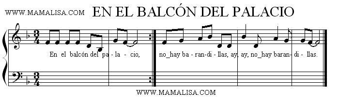 Partition musicale - En el balcón de palacio