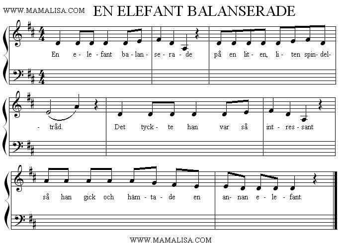 Partition musicale - En elefant balanserade
