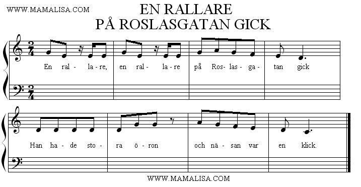 Sheet Music - En rallare, en rallare, på Roslagsgatan gick