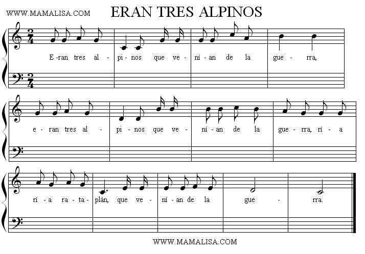 Sheet Music - Eran tres alpinos