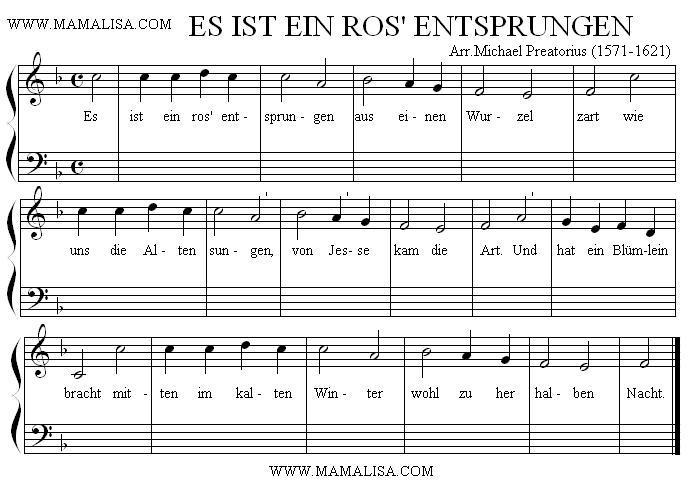 Partition musicale - Es ist ein Ros entsprungen