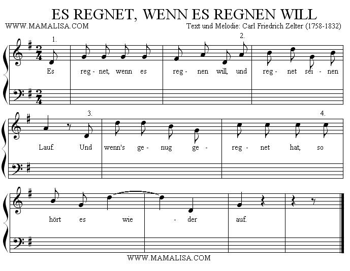 Sheet Music - Es regnet, wenn es regnen will