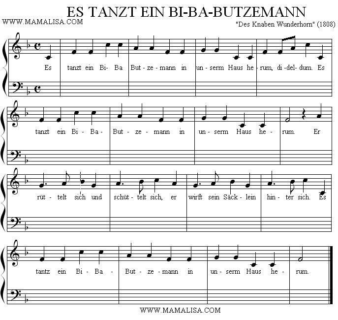 Sheet Music - Es tanzt ein Bi-Ba-Butzemann