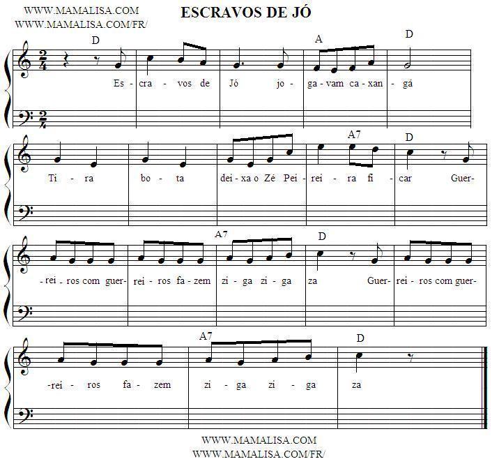 Partition musicale - Escravos de Jó