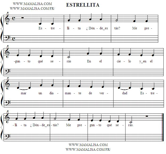 Sheet Music Of Estrellita   Canciones Infantiles Mexicanas   M  Xico
