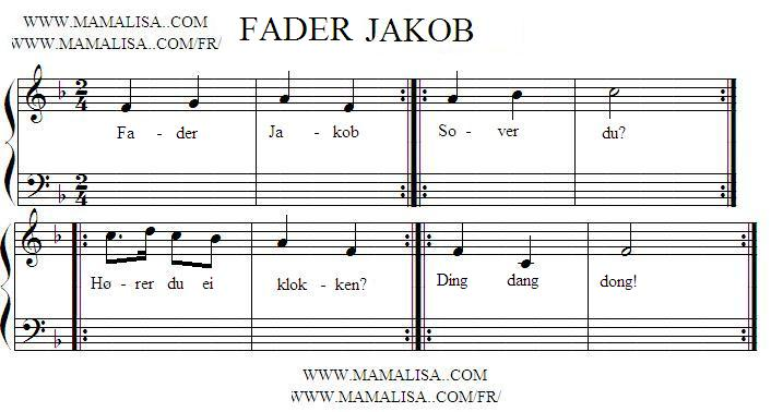 Sheet Music - Fader Jakob