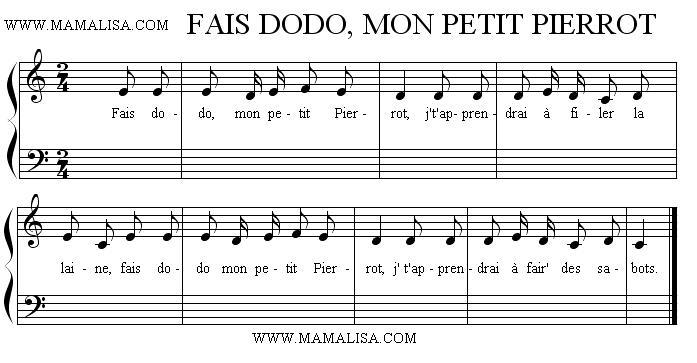 Partition musicale - Fais dodo mon petit Pierrot