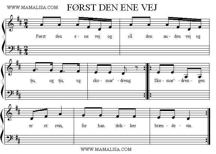 Partition musicale - Først den ene vej
