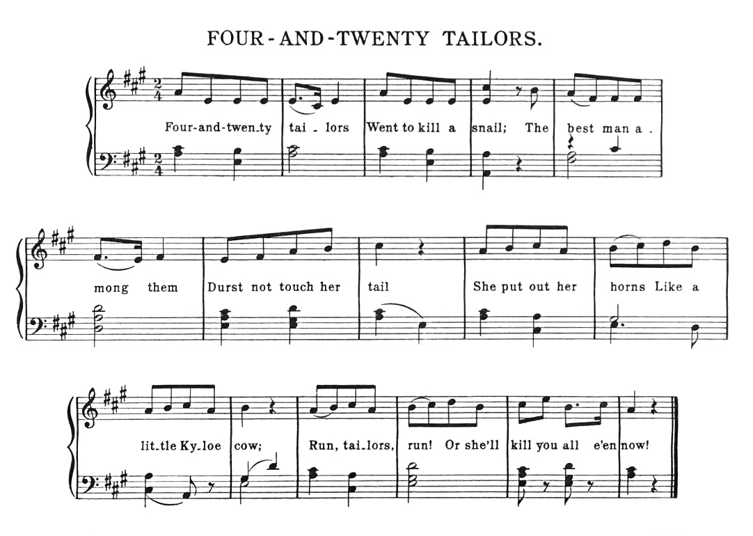 Sheet Music - Four-and-twenty Tailors Went to Kill a Snail