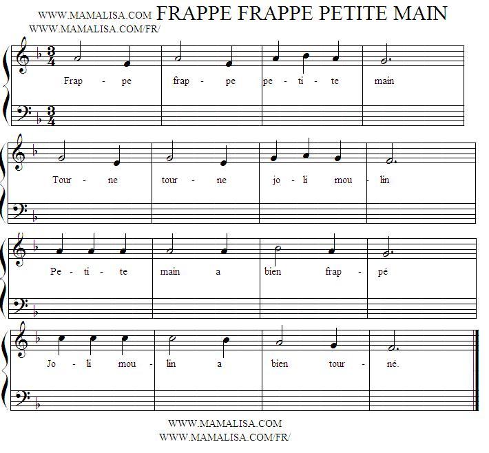 Partition musicale - Frappe, frappe, petite main