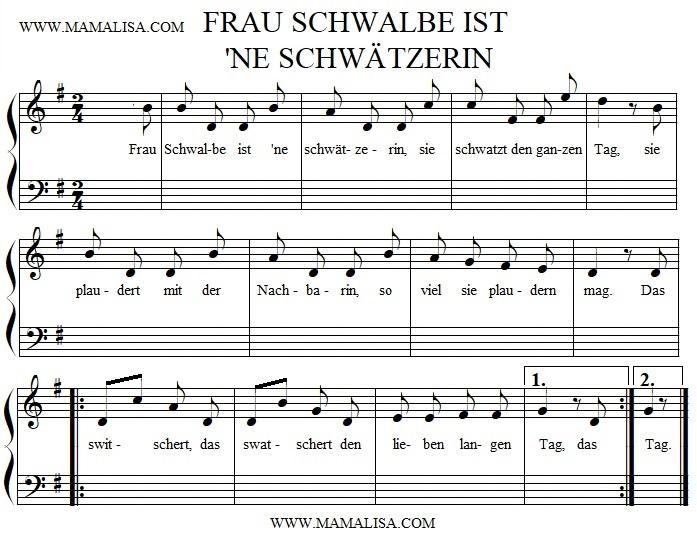 Sheet Music - Frau Schwalbe ist 'ne Schwätzerin