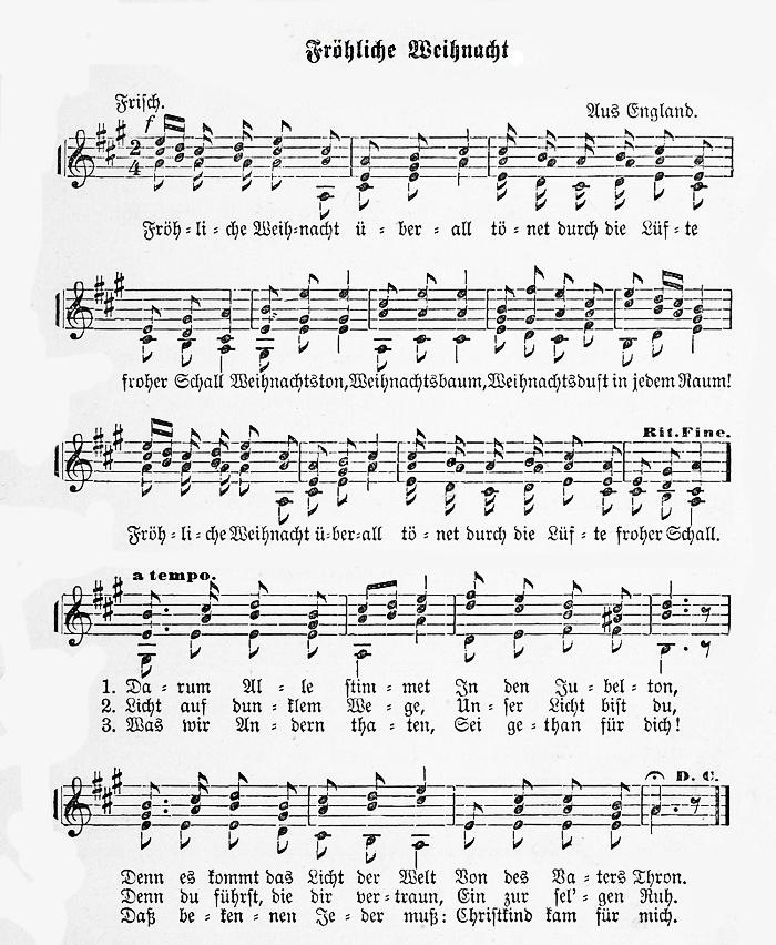 Partition musicale - Fröhliche Weihnacht überall