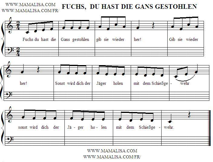 Partition musicale - Fuchs, du hast die Gans gestohlen